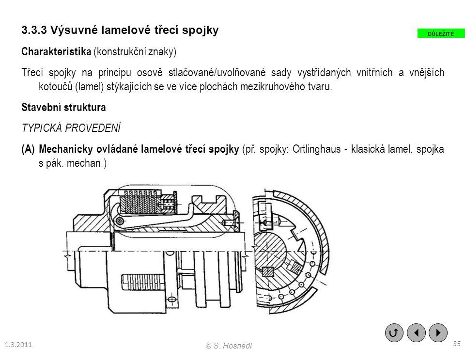 3.3.3 Výsuvné lamelové třecí spojky Charakteristika (konstrukční znaky) Třecí spojky na principu osově stlačované/uvolňované sady vystřídaných vnitřní
