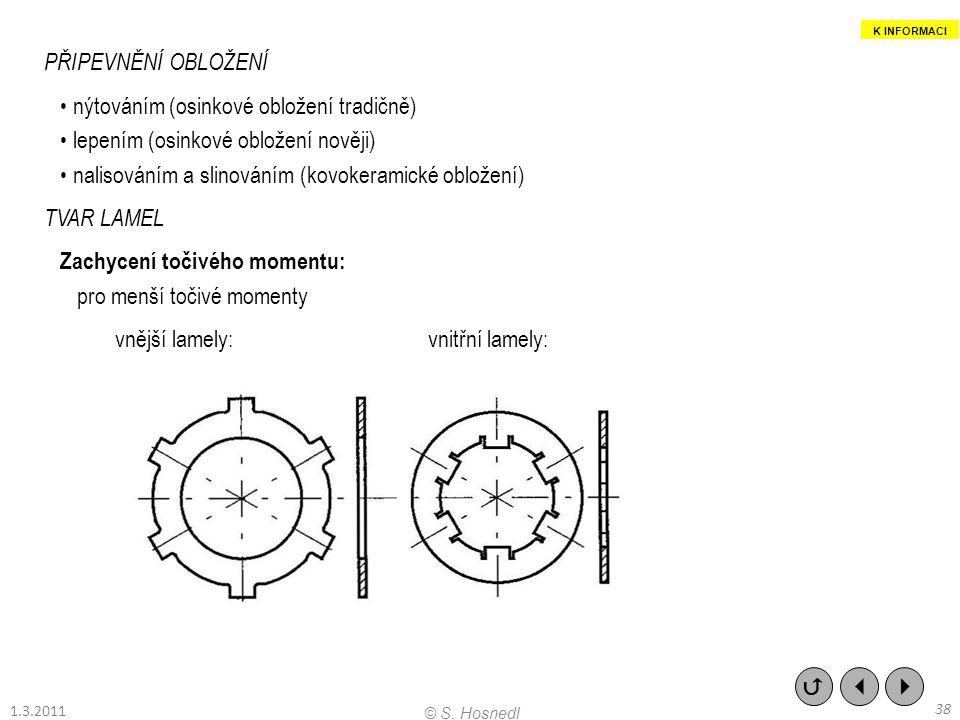 PŘIPEVNĚNÍ OBLOŽENÍ nýtováním (osinkové obložení tradičně) lepením (osinkové obložení nověji) nalisováním a slinováním (kovokeramické obložení) TVAR L