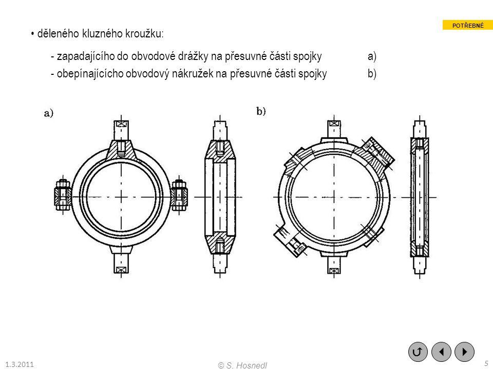 děleného kluzného kroužku: - zapadajícího do obvodové drážky na přesuvné části spojky a) - obepínajícícho obvodový nákružek na přesuvné části spojky b