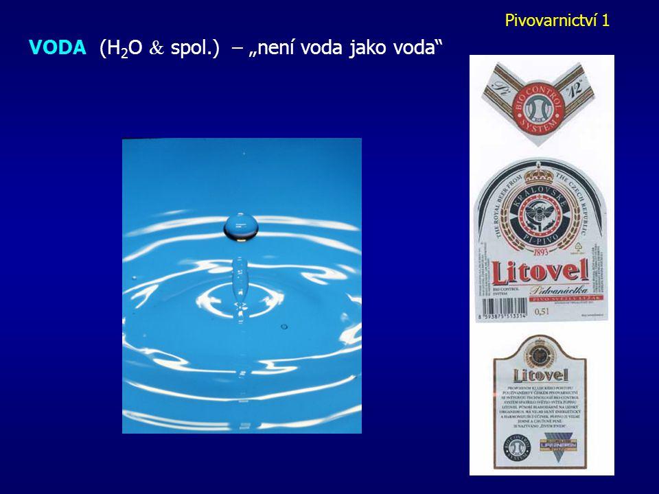 Pivovarnictví 1 Výroba mladiny (cca 4 hod) 1) šrotování = drcení sladu zbaveného prachu 2) vystírání = dokonalé promíchání s vodou 3) rmutování = postupné zahřívání na technologicky významné teploty: 52, 63, 75 0 C - 52 st = štěpení bílkovin - 63 st = ztekucení škrobu (  -amylasy) - 75 st = štepení škrobu (  -amylasy) infúzní x dekokční postup výsledný RMUT = sladina + mláto - sladina oddělena na sladinovém filtru - mláto = odpad (krmivo,..)