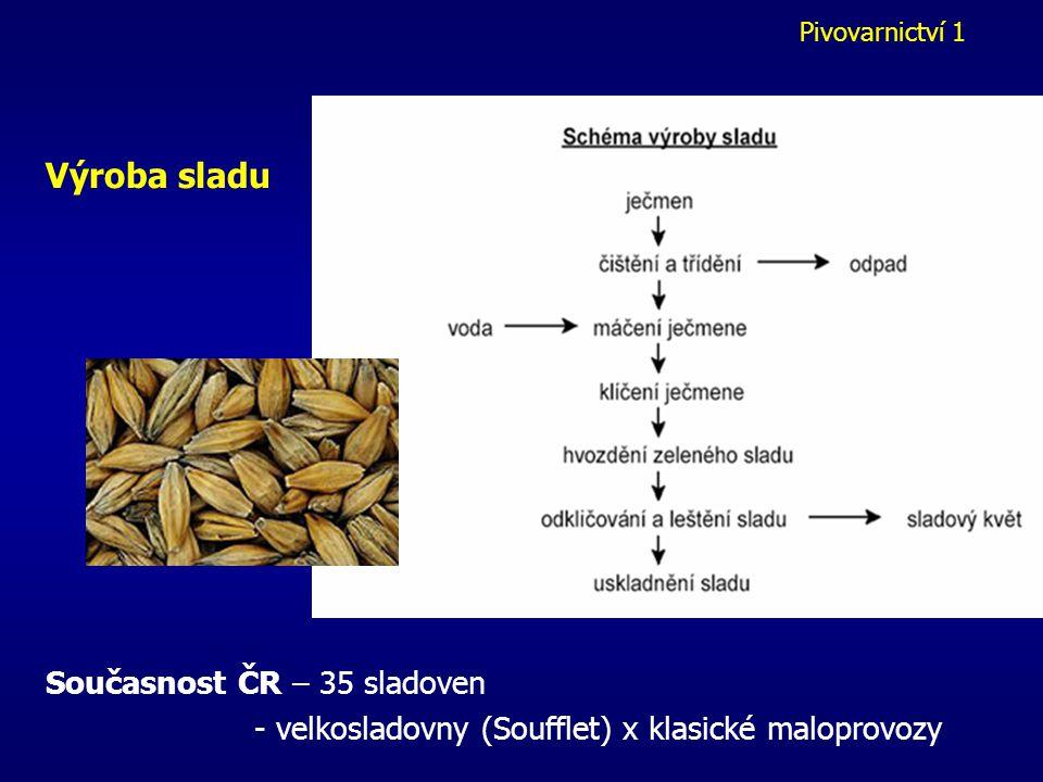 Pivovarnictví 1 Výroba sladu Současnost ČR – 35 sladoven - velkosladovny (Soufflet) x klasické maloprovozy