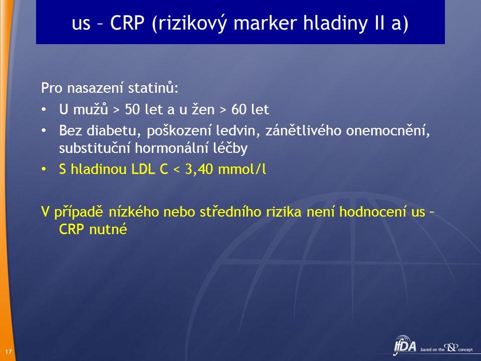 17 us – CRP (rizikový marker hladiny II a) Pro nasazení statinů: U mužů > 50 let a u žen > 60 let Bez diabetu, poškození ledvin, zánětlivého onemocněn