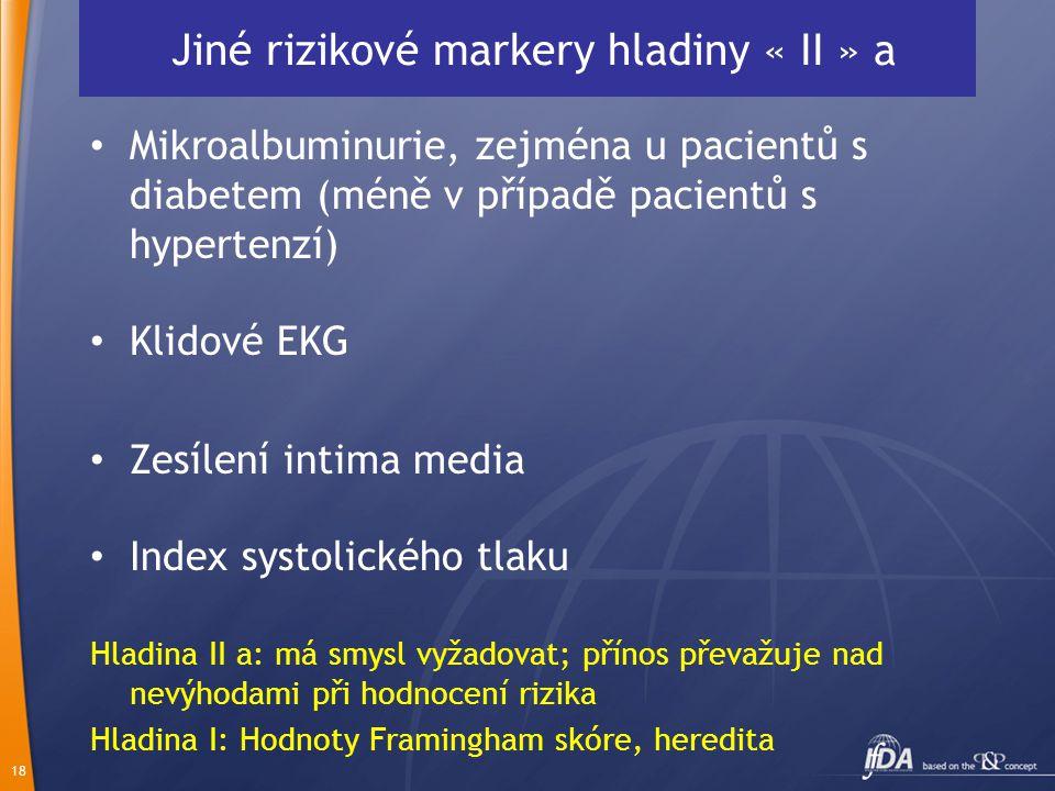 18 Jiné rizikové markery hladiny « II » a Mikroalbuminurie, zejména u pacientů s diabetem (méně v případě pacientů s hypertenzí) Klidové EKG Zesílení
