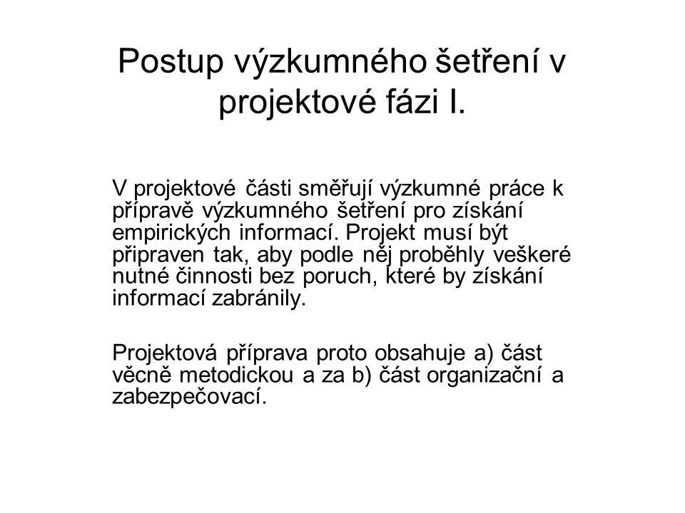 Postup výzkumného šetření v projektové fázi I.