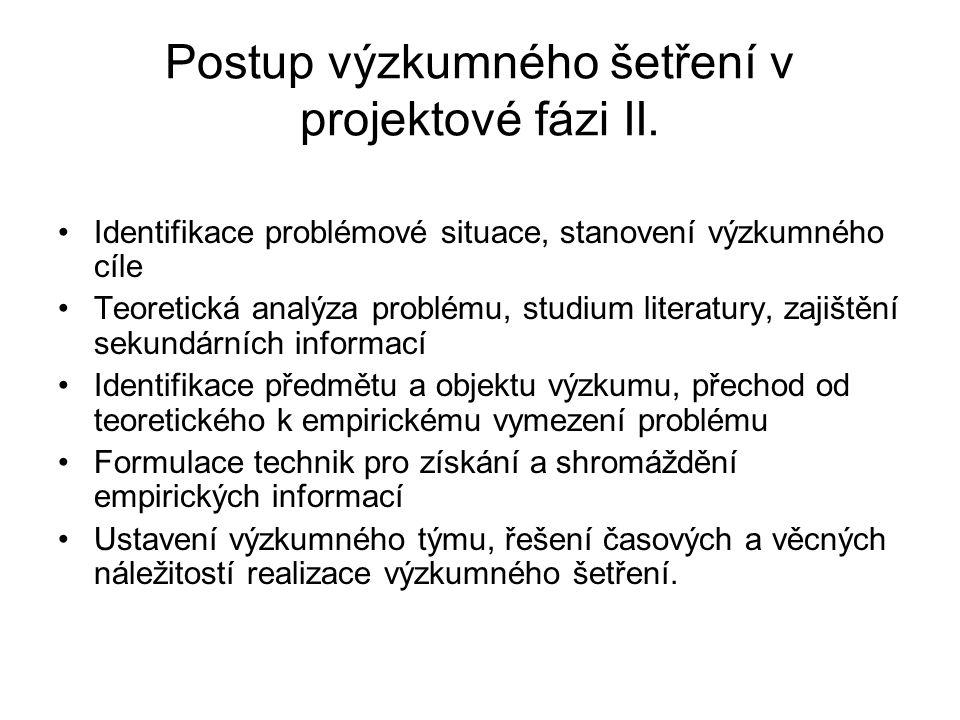 Postup výzkumného šetření v projektové fázi II.