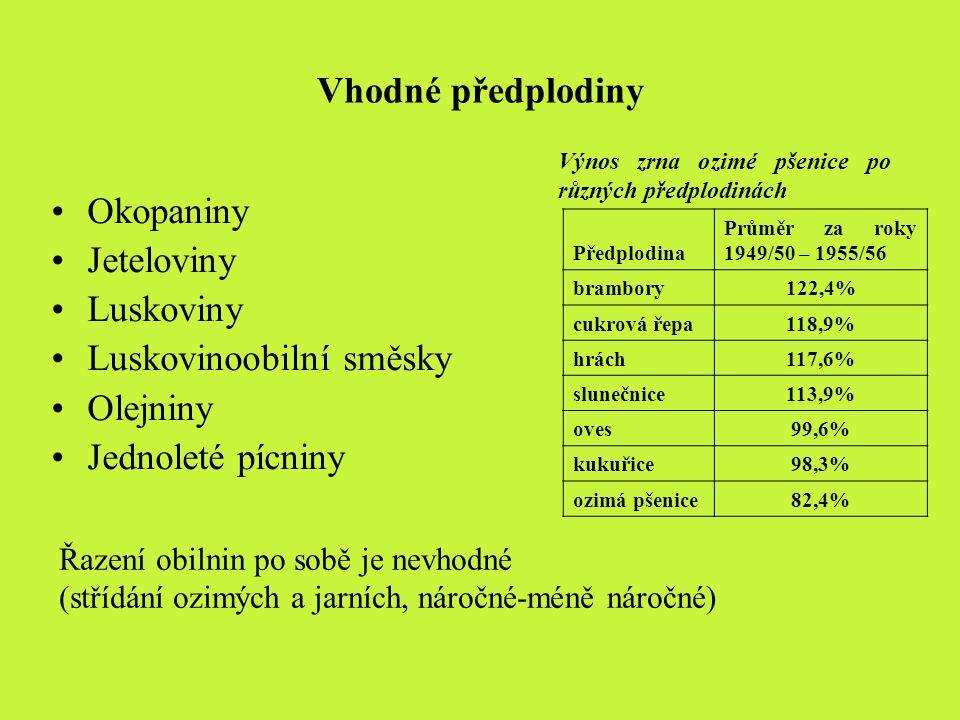 Vhodné předplodiny Okopaniny Jeteloviny Luskoviny Luskovinoobilní směsky Olejniny Jednoleté pícniny Řazení obilnin po sobě je nevhodné (střídání ozimý