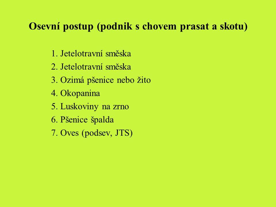 Osevní postup (podnik s chovem prasat a skotu) 1. Jetelotravní směska 2. Jetelotravní směska 3. Ozimá pšenice nebo žito 4. Okopanina 5. Luskoviny na z