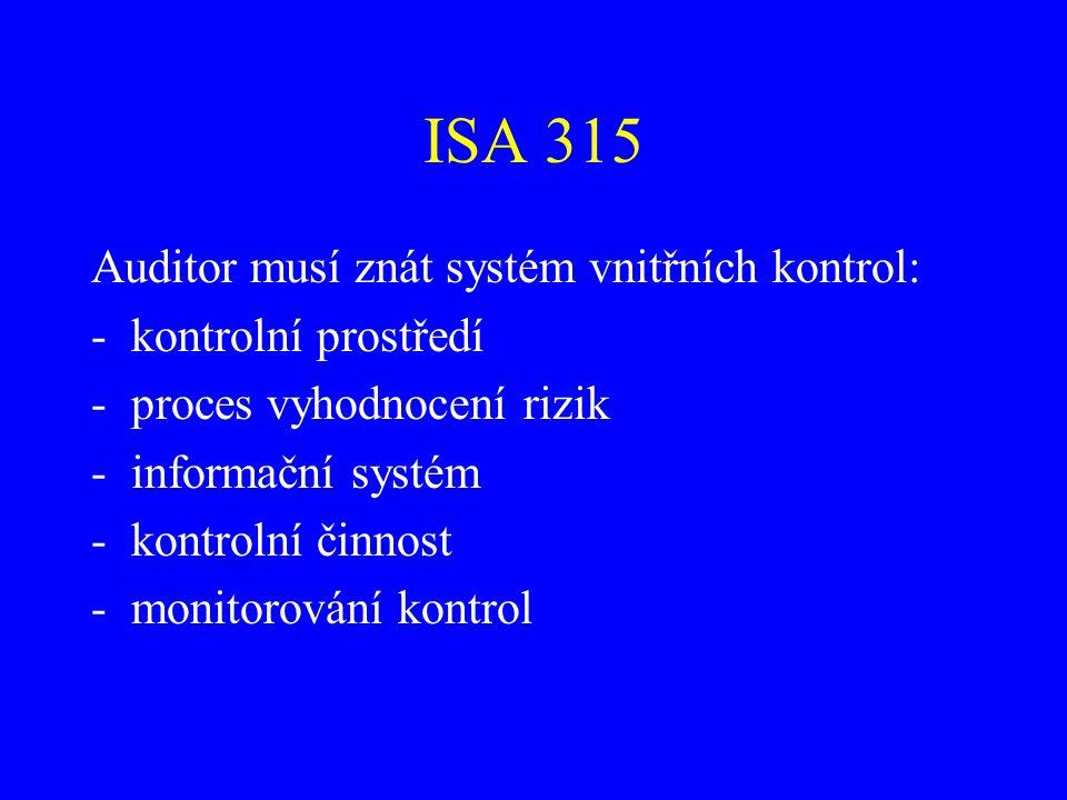 ISA 315 Auditor musí znát systém vnitřních kontrol: -kontrolní prostředí -proces vyhodnocení rizik -informační systém -kontrolní činnost -monitorování