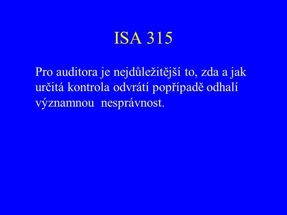 ISA 315 Míra znalosti vnitřní kontroly: existence kontroly využívání kontroly (nevhodně navržená kontrola může být považována za významný nedostatek vnitřní kontroly)