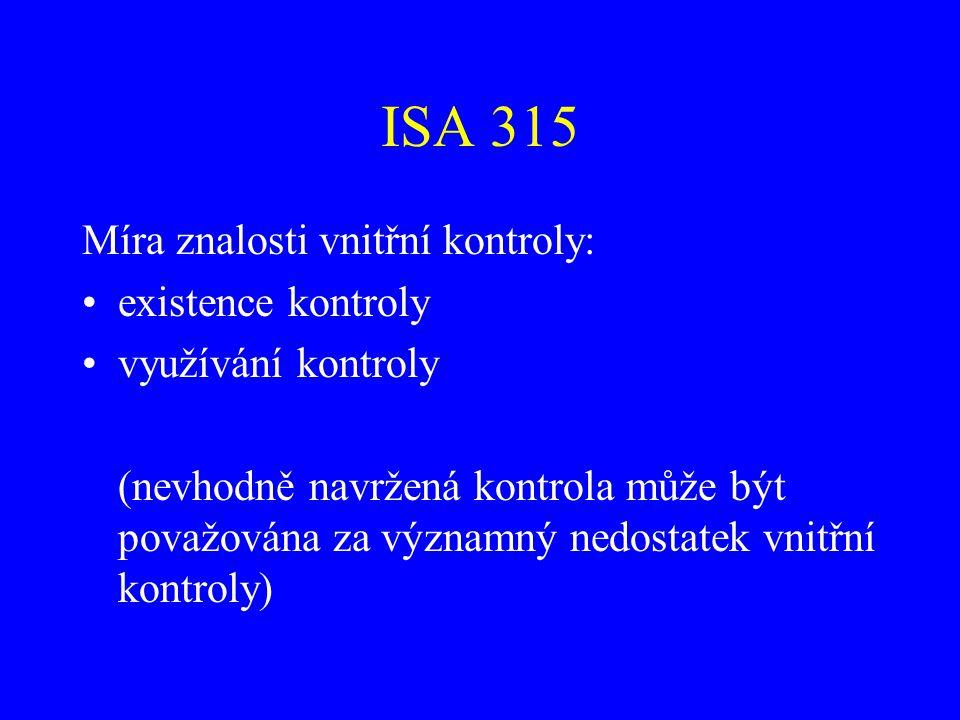 ISA 315 Vliv IT na vnitřní kontrolu: Existuje vždy určitý vztah mezi manuálními a automatizovanými složkami kontroly IT je v zásadě efektivnější, přináší však jiná rizika a jiné nezbytné kontroly