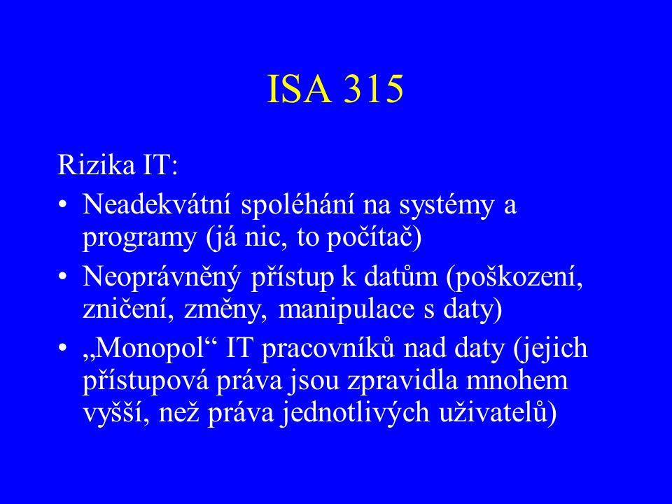 ISA 315 Rizika IT: Neadekvátní spoléhání na systémy a programy (já nic, to počítač) Neoprávněný přístup k datům (poškození, zničení, změny, manipulace