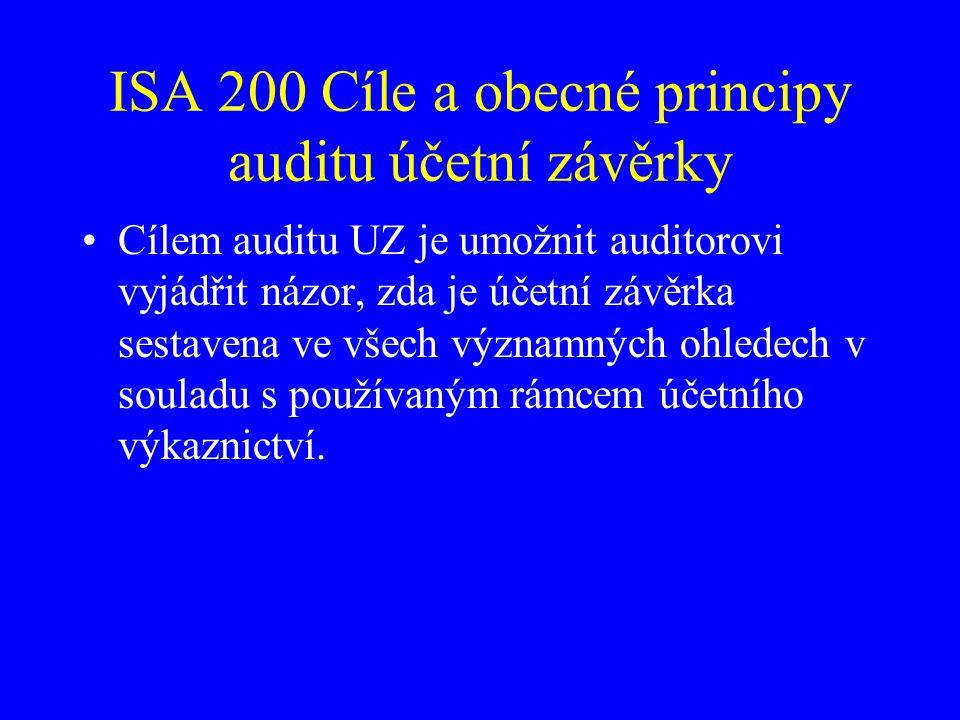 ISA 200 Cíle a obecné principy auditu účetní závěrky Cílem auditu UZ je umožnit auditorovi vyjádřit názor, zda je účetní závěrka sestavena ve všech vý