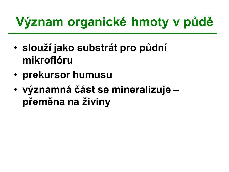 Význam organické hmoty v půdě slouží jako substrát pro půdní mikroflóru prekursor humusu významná část se mineralizuje – přeměna na živiny