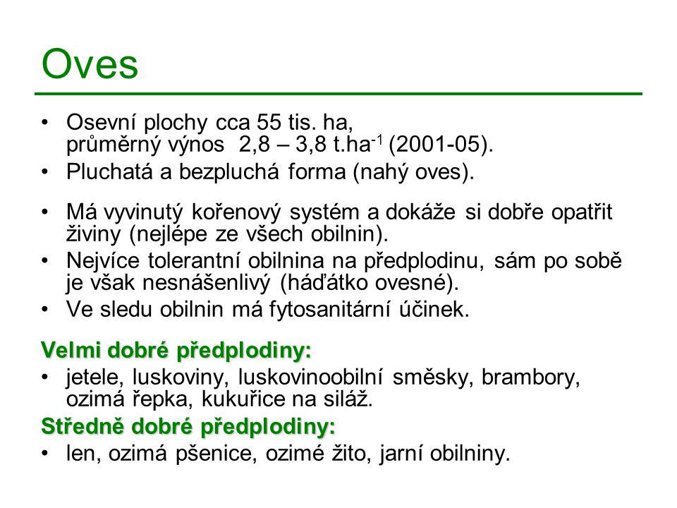 Oves Osevní plochy cca 55 tis. ha, průměrný výnos 2,8 – 3,8 t.ha -1 (2001-05). Pluchatá a bezpluchá forma (nahý oves). Má vyvinutý kořenový systém a d
