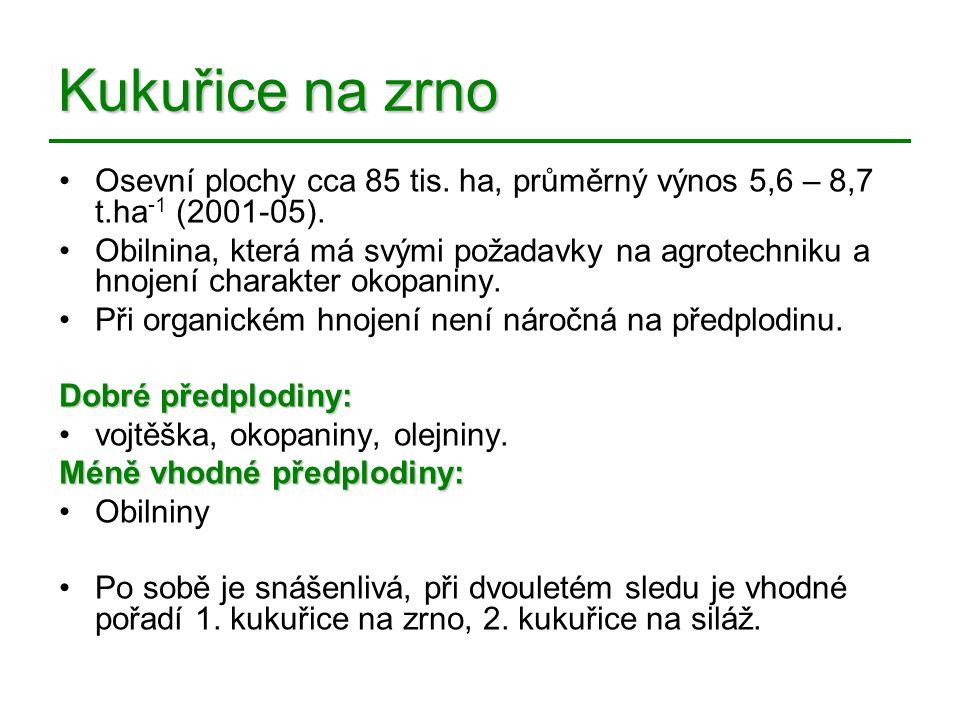 Kukuřice na zrno Osevní plochy cca 85 tis. ha, průměrný výnos 5,6 – 8,7 t.ha -1 (2001-05). Obilnina, která má svými požadavky na agrotechniku a hnojen