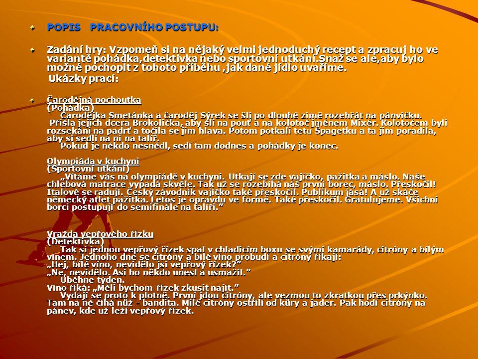 POPIS PRACOVNÍHO POSTUPU: Zadání hry: Vzpomeň si na nějaký velmi jednoduchý recept a zpracuj ho ve variantě pohádka,detektivka nebo sportovní utkání.S