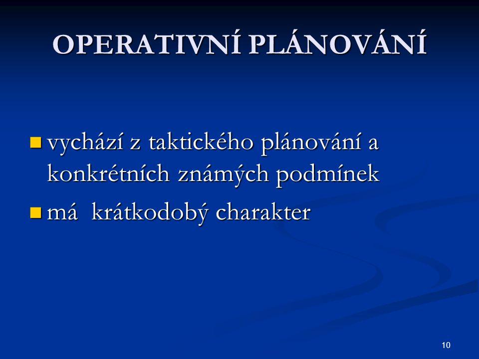 10 OPERATIVNÍ PLÁNOVÁNÍ vychází z taktického plánování a konkrétních známých podmínek vychází z taktického plánování a konkrétních známých podmínek má