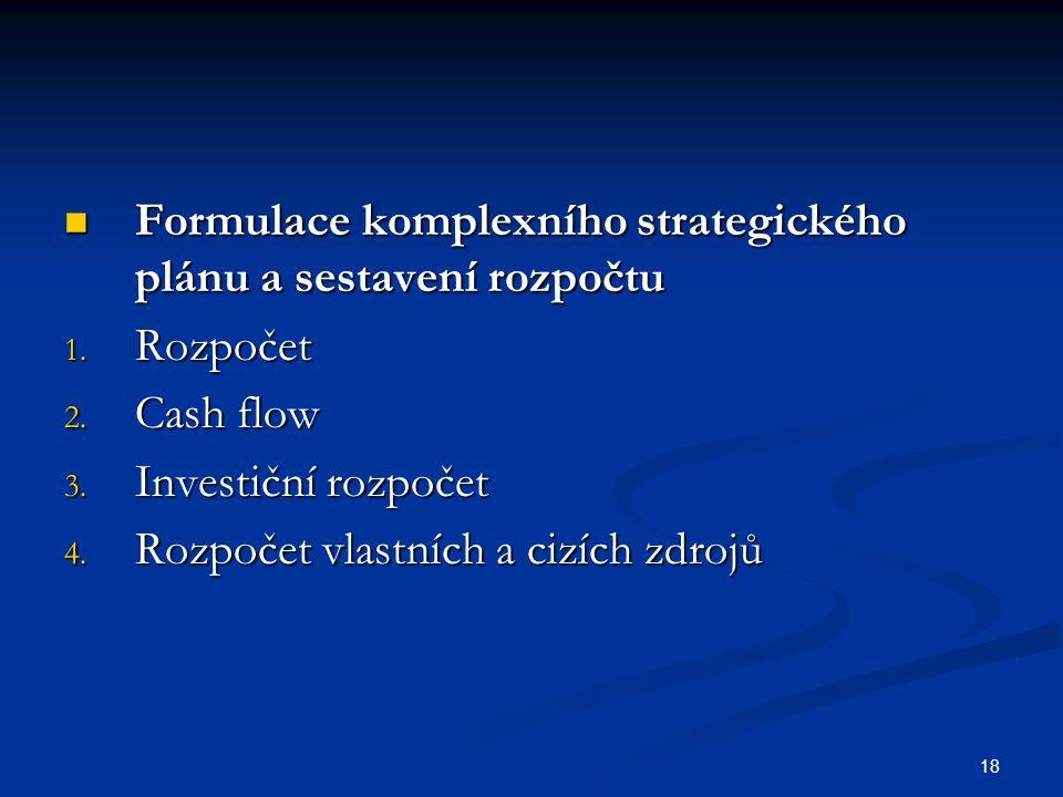 18 Formulace komplexního strategického plánu a sestavení rozpočtu Formulace komplexního strategického plánu a sestavení rozpočtu 1. Rozpočet 2. Cash f