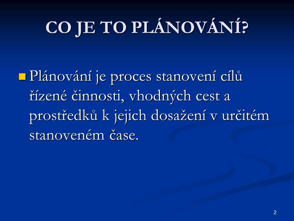 2 CO JE TO PLÁNOVÁNÍ? Plánování je proces stanovení cílů řízené činnosti, vhodných cest a prostředků k jejich dosažení v určitém stanoveném čase. Plán