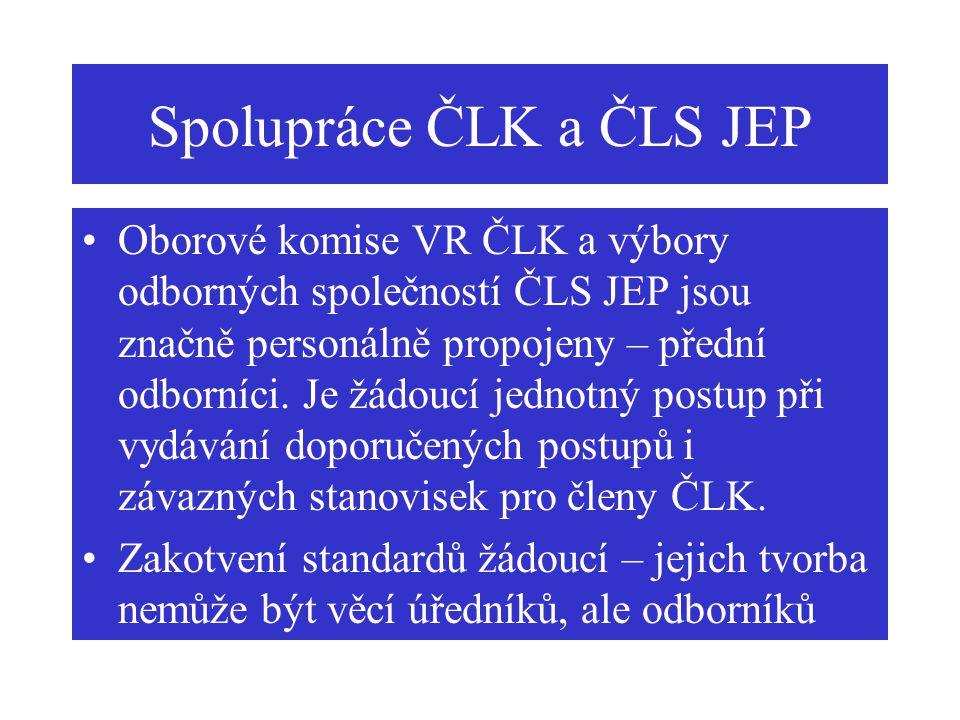 Spolupráce ČLK a ČLS JEP Oborové komise VR ČLK a výbory odborných společností ČLS JEP jsou značně personálně propojeny – přední odborníci. Je žádoucí