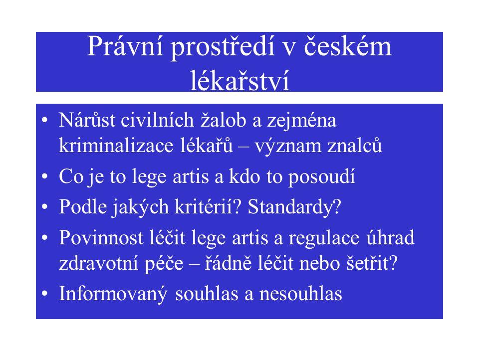 Právní prostředí v českém lékařství Nárůst civilních žalob a zejména kriminalizace lékařů – význam znalců Co je to lege artis a kdo to posoudí Podle j