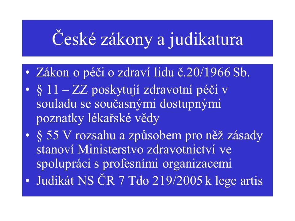 České zákony a judikatura Zákon o péči o zdraví lidu č.20/1966 Sb. § 11 – ZZ poskytují zdravotní péči v souladu se současnými dostupnými poznatky léka