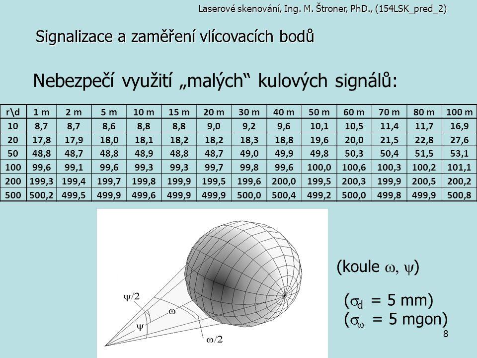 """8 Signalizace a zaměření vlícovacích bodů Nebezpečí využití """"malých"""" kulových signálů: Laserové skenování, Ing. M. Štroner, PhD., (154LSK_pred_2) r\dr"""