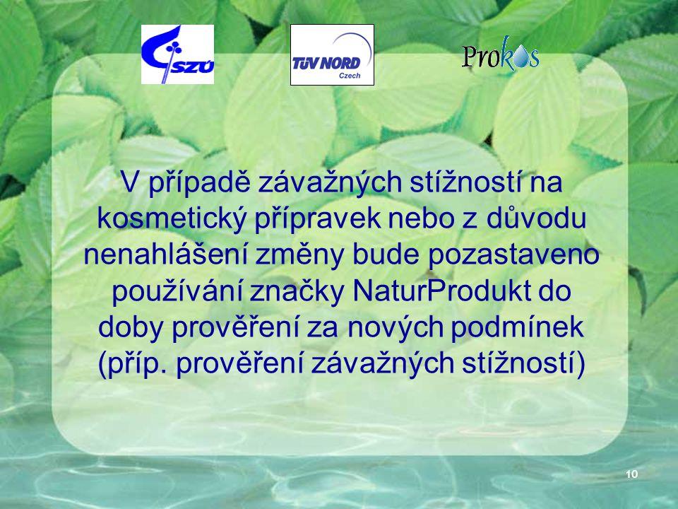 10 V případě závažných stížností na kosmetický přípravek nebo z důvodu nenahlášení změny bude pozastaveno používání značky NaturProdukt do doby prověření za nových podmínek (příp.