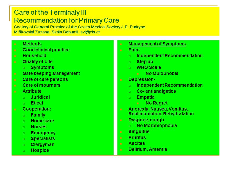 Care of the Terminaly Ill Recommendation for Primary Care Society of General Practice of the Czech Medical Society J.E. Purkyne Miškovská Zuzana, Skál