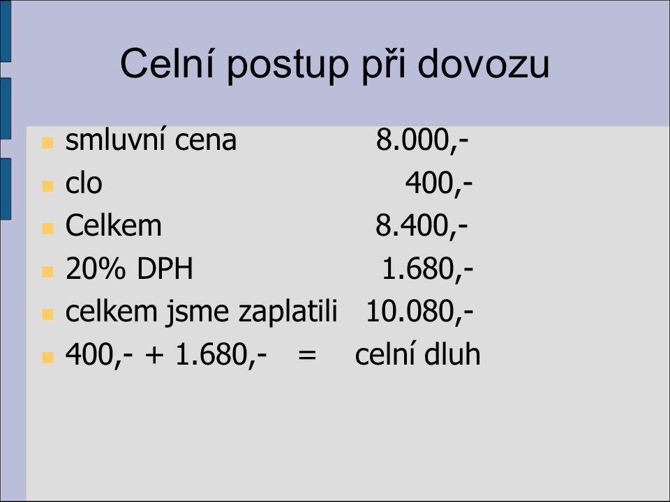 Celní postup při dovozu smluvní cena 8.000,- clo 400,- Celkem 8.400,- 20% DPH 1.680,- celkem jsme zaplatili 10.080,- 400,- + 1.680,- = celní dluh