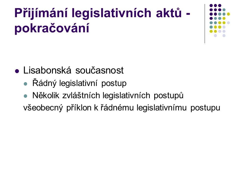 Přijímání legislativních aktů - pokračování Lisabonská současnost Řádný legislativní postup Několik zvláštních legislativních postupů všeobecný příklon k řádnému legislativnímu postupu