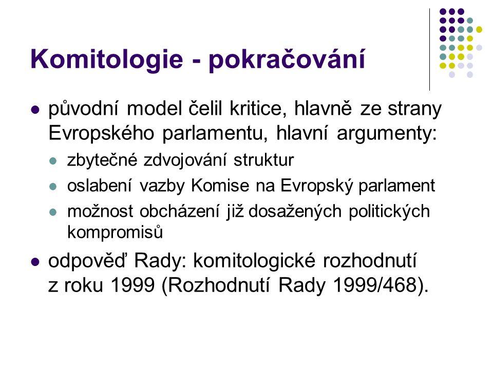 Komitologie - pokračování původní model čelil kritice, hlavně ze strany Evropského parlamentu, hlavní argumenty: zbytečné zdvojování struktur oslabení vazby Komise na Evropský parlament možnost obcházení již dosažených politických kompromisů odpověď Rady: komitologické rozhodnutí z roku 1999 (Rozhodnutí Rady 1999/468).