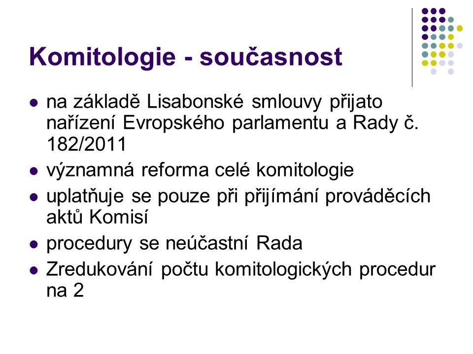 Komitologie - současnost na základě Lisabonské smlouvy přijato nařízení Evropského parlamentu a Rady č.
