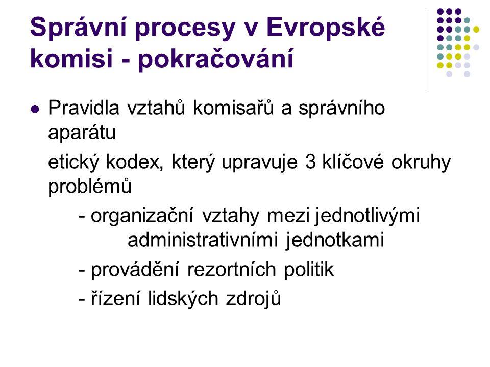Správní procesy v Evropské komisi - pokračování Pravidla vztahů komisařů a správního aparátu etický kodex, který upravuje 3 klíčové okruhy problémů - organizační vztahy mezi jednotlivými administrativními jednotkami - provádění rezortních politik - řízení lidských zdrojů