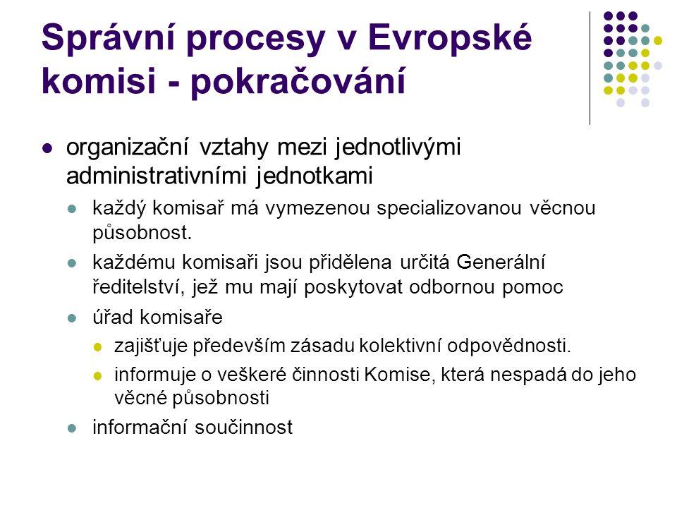 Správní procesy v Evropské komisi - pokračování organizační vztahy mezi jednotlivými administrativními jednotkami každý komisař má vymezenou specializovanou věcnou působnost.