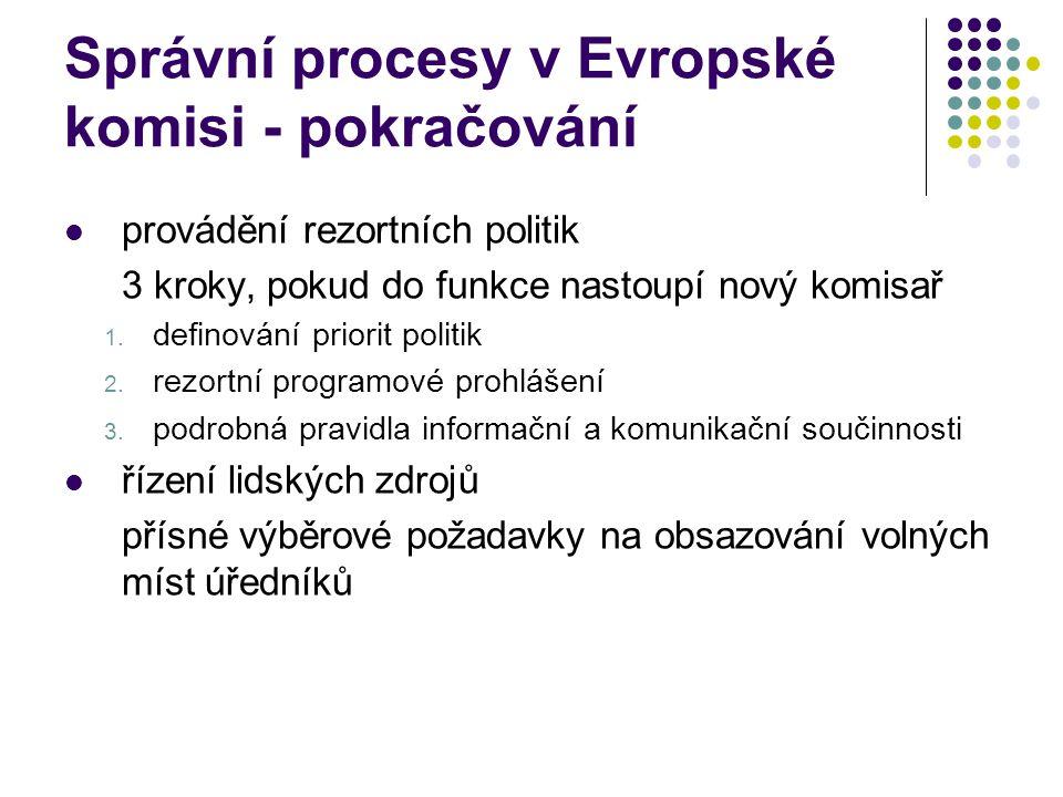 Správní procesy v Evropské komisi - pokračování provádění rezortních politik 3 kroky, pokud do funkce nastoupí nový komisař 1.
