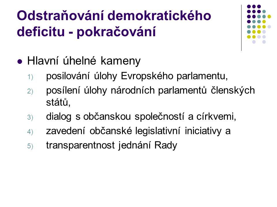 Odstraňování demokratického deficitu - pokračování Hlavní úhelné kameny 1) posilování úlohy Evropského parlamentu, 2) posílení úlohy národních parlamentů členských států, 3) dialog s občanskou společností a církvemi, 4) zavedení občanské legislativní iniciativy a 5) transparentnost jednání Rady