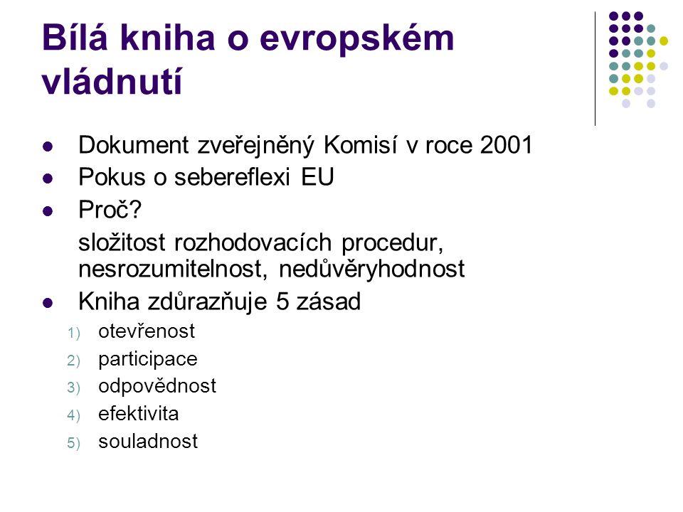Bílá kniha o evropském vládnutí Dokument zveřejněný Komisí v roce 2001 Pokus o sebereflexi EU Proč.