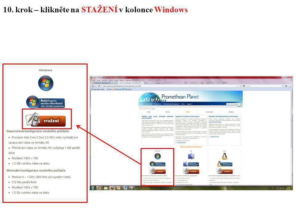 10. krok – klikněte na STAŽENÍ v kolonce Windows