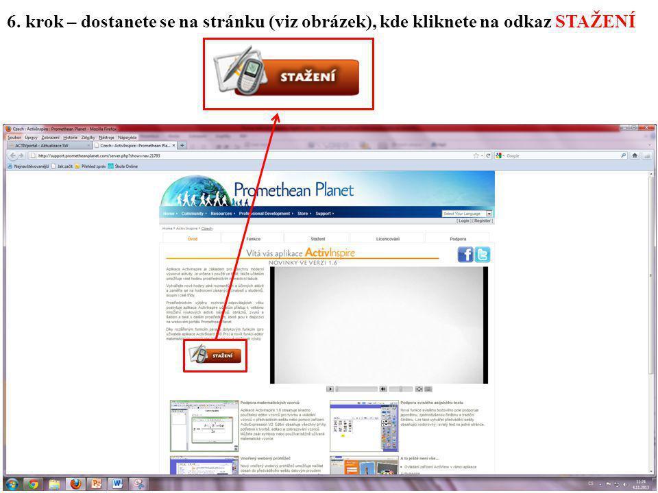 6. krok – dostanete se na stránku (viz obrázek), kde kliknete na odkaz STAŽENÍ