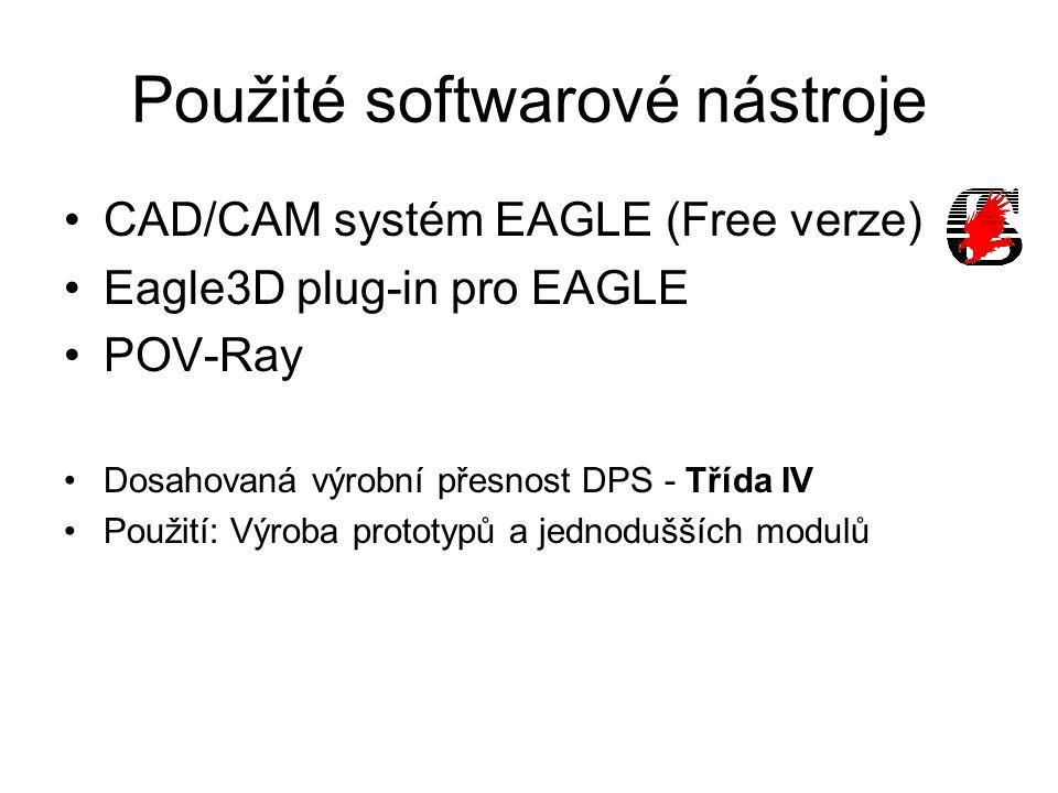 Použité softwarové nástroje CAD/CAM systém EAGLE (Free verze) Eagle3D plug-in pro EAGLE POV-Ray Dosahovaná výrobní přesnost DPS - Třída IV Použití: Výroba prototypů a jednodušších modulů