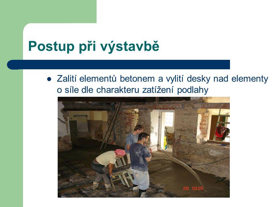 Postup při výstavbě Zalití elementů betonem a vylití desky nad elementy o síle dle charakteru zatížení podlahy