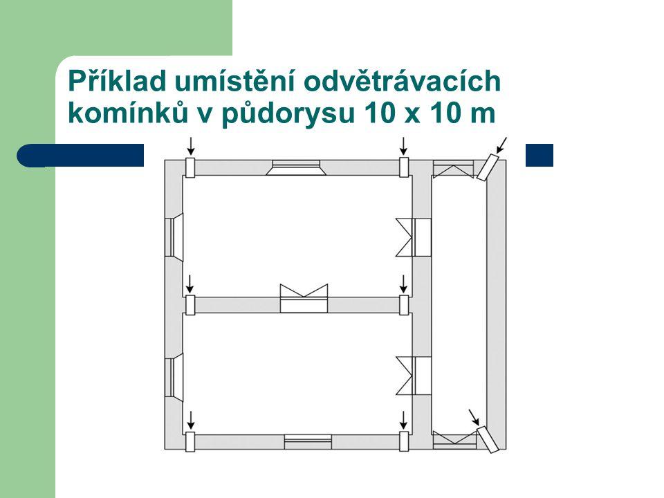 Příklad umístění odvětrávacích komínků v půdorysu 10 x 10 m