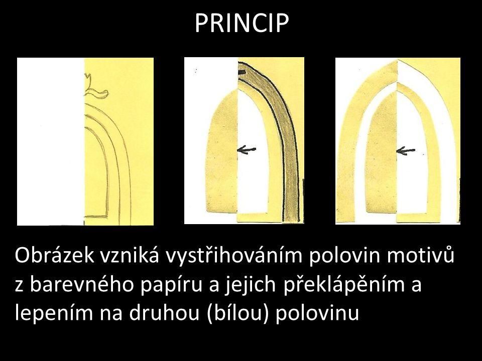 PRINCIP Obrázek vzniká vystřihováním polovin motivů z barevného papíru a jejich překlápěním a lepením na druhou (bílou) polovinu