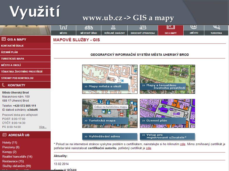 Vyu ž ití www.ub.cz -> GIS a mapy