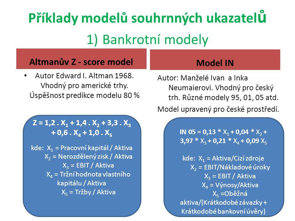 Příklady modelů souhrnných ukazatel ů 1) Bankrotní modely Altmanův Z - score model Autor Edward I. Altman 1968. Vhodný pro americké trhy. Úspěšnost pr