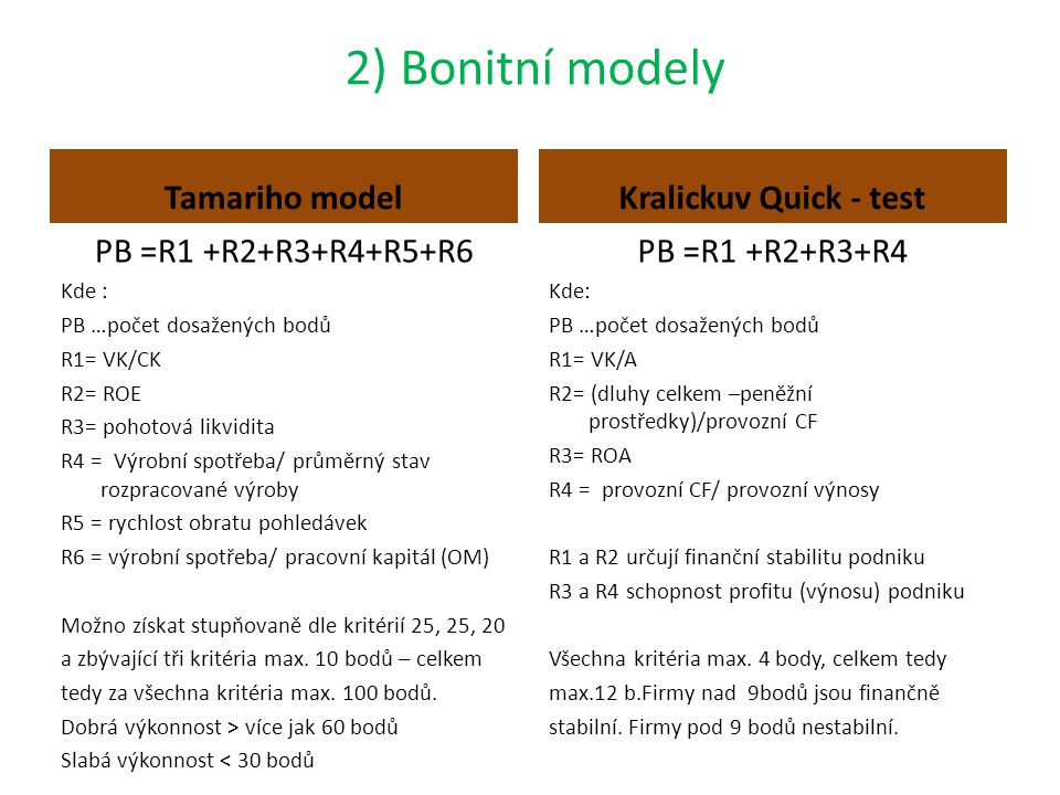 2) Bonitní modely Tamariho model PB =R1 +R2+R3+R4+R5+R6 Kde : PB …počet dosažených bodů R1= VK/CK R2= ROE R3= pohotová likvidita R4 = Výrobní spotřeba