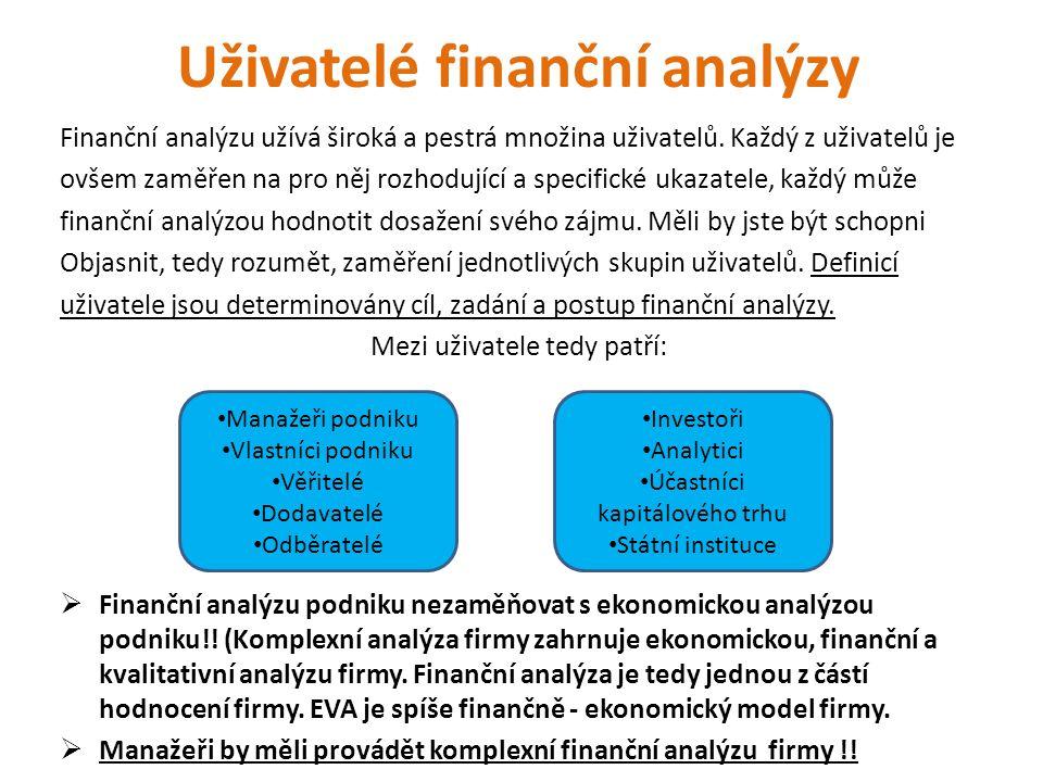 Uživatelé finanční analýzy Finanční analýzu užívá široká a pestrá množina uživatelů. Každý z uživatelů je ovšem zaměřen na pro něj rozhodující a speci