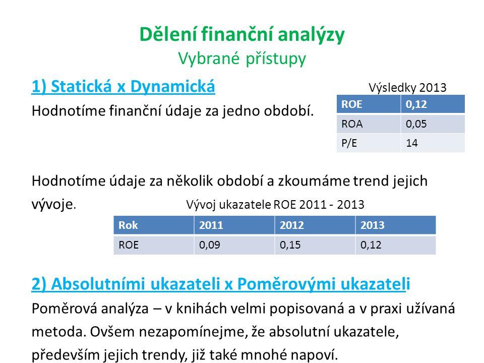 Dělení finanční analýzy Vybrané přístupy 1) Statická x Dynamická Výsledky 2013 Hodnotíme finanční údaje za jedno období. Hodnotíme údaje za několik ob