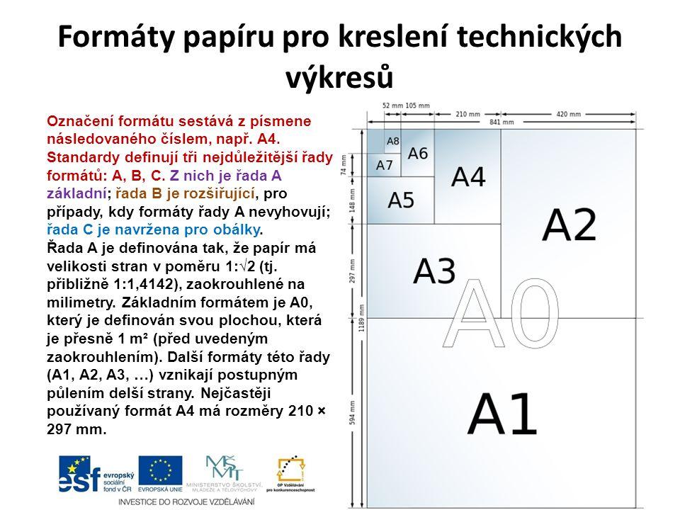 Formáty papíru pro kreslení technických výkresů Označení formátu sestává z písmene následovaného číslem, např.